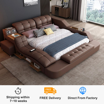 Europe and America leather bed massage Modern Soft Beds Home Bedroom Furniture cama muebles de dormitorio / camas quarto
