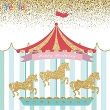 Yeele Carousel Stripes Horse Baby Birthday Party Decor Photography Background Customized Photographic Backdrops for Photo Studio customized art fabric candy rack photography backdrops for child studios drops newborns background 5x7ft