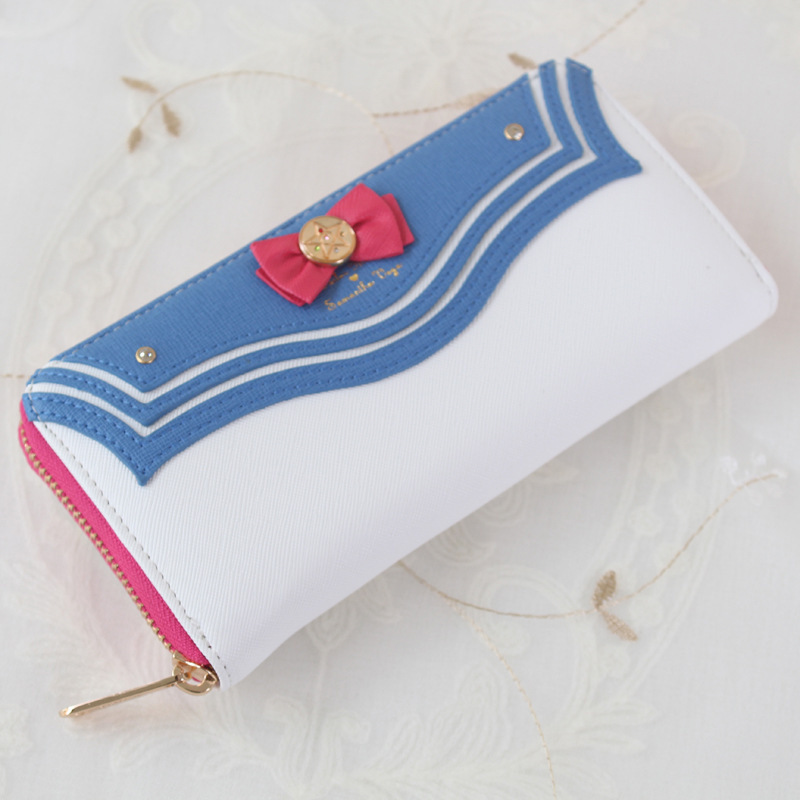 Sailor Moon Designer PU Leather Long Wallet Lady Zipper Purse Lovely Handbag Day Clutch With Pearl Bow