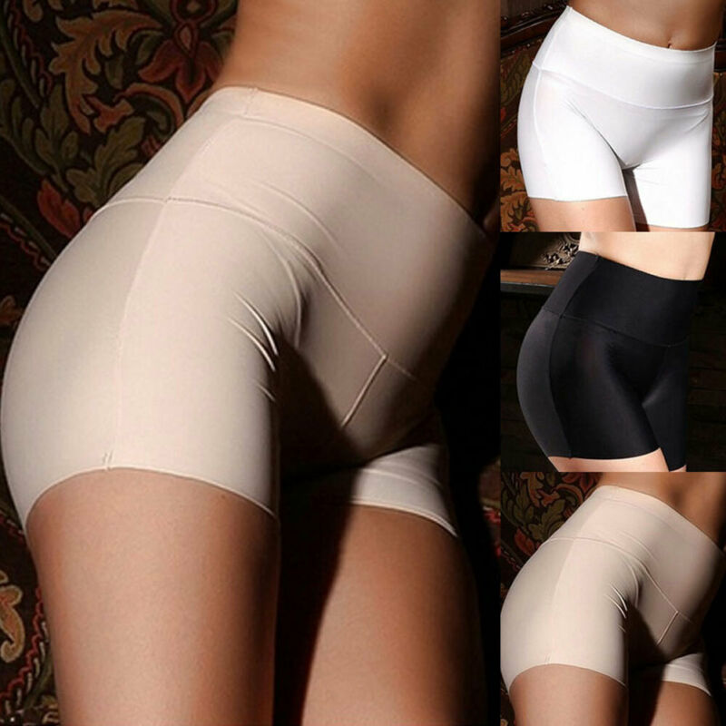 Womens Ice Silk Safety Shorts Seamless Boxer Briefs Underwear Women Boyshort Solid Safety Short Pants