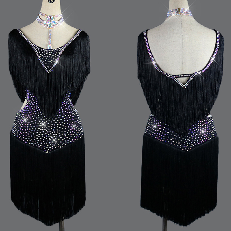 New Latin Dance Dress Black Competition Outfit Shiny Rhinestone Dress Girls Party Dance Wear Stage Costume Latin Dress BL2561