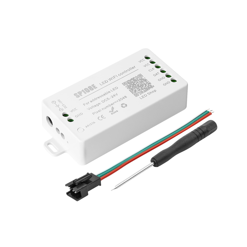 DC5-24V SP108E LED Wifi Magic Controller WS2812B WS2813 Etc LED Strip Module Light Smart APP Wireless Control Max 2048 Pixels
