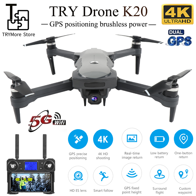 2020 New K20 Drone With 4k Camera Dual Gps One-key Return Headless Mode Follow Me Circle Fly Rc Drones Toys