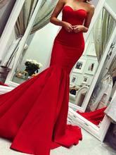 2021 милое Красное Атласное Вечернее платье с юбкой годе красная
