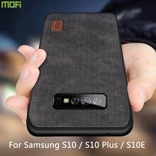 Mofi capa de silicone para samsung s10 plus, capa protetora de silicone e couro tpu antichoque para samsung galaxy s10 s10 +