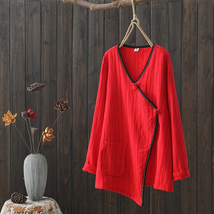 2020 Linen Cotton Chinese Traditional National Top Hanfu Loose Blouse For Women V Neck Style Shirt  For Ladies Female Vintage