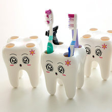 1Pcs Cartoon Toothbrush Holder Teeth Shape 4 Hole Grid Stand Tooth Brush Shelf Bathroom Accessories Sets Bracket Container(China)