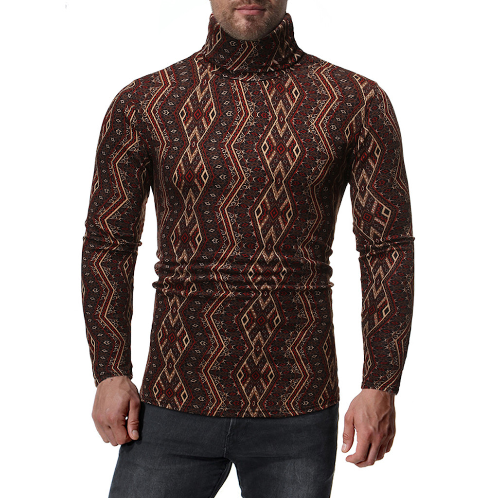 Womail Geometric Print Long Sleeve Sweater No Cap High Collar Long Sleeve Sweater Men Tight And Casual Winter Pullover Mens