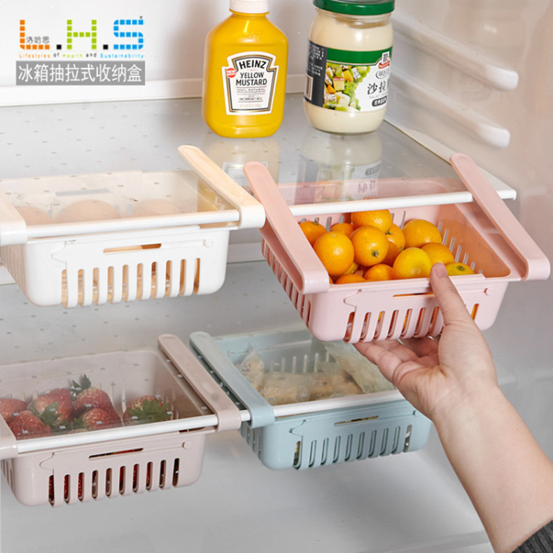 Refrigerator Storage Box Shelf 1PC Adjustable Stretchable Fridge Organizer Rack Basket Pull-out Drawers Kitchen Food Container