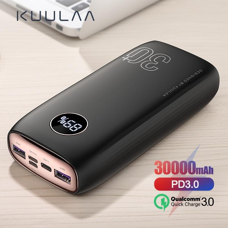 KUULAA Power Bank 30000 мАч USB Type C PD Быстрая зарядка + быстрая зарядка 3,0 внешний аккумулятор 30000 мАч для Xiaomi iPhone|Внешние аккумуляторы|   | АлиЭкспресс
