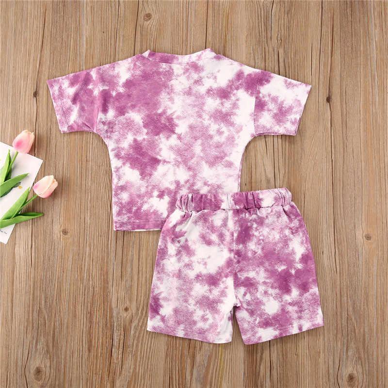 2020 marka erkek bebek kravat boya baskılı giysiler setleri 1-5Y yaz kısa kollu baskı T shirt Tops + şort pantolon çocuk kız 2 adet takım elbise