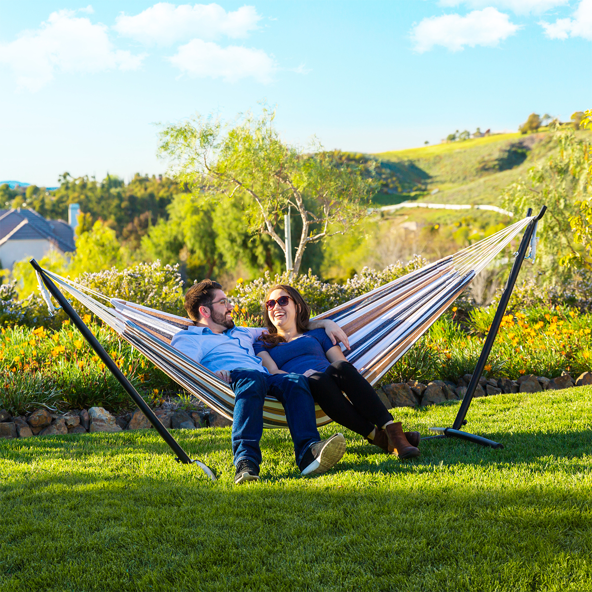 200KG Load 2 Adults Double Hammock Set Quilted hammock Swing  Hanging Chair Furniture with Accessories