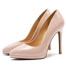 Plus Size 34-41 Hot Women's Shoes Pointed Toe Patent Leather/Kid Suede Leather Dress Pumps High Heels Wedding Shoes Red C0096 ladylike women s pumps with patent leather and pointed toe design