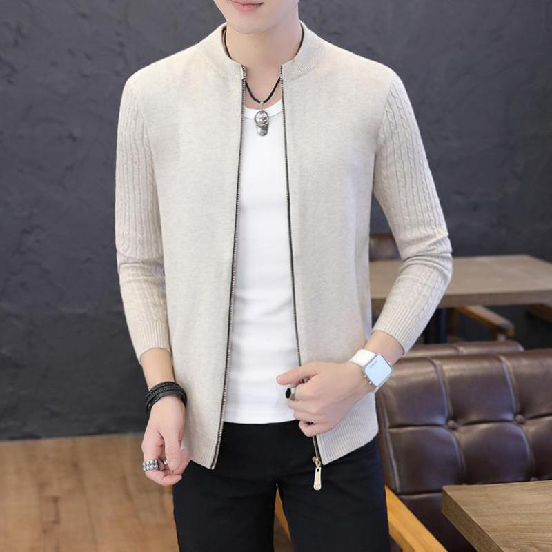 5 Colors Long Sleeve Autumn Cardigan Men Zipper Front Plain Color Knitted Sweater Men Clothes 3XL Fashion Men Sweatercoat XXXL