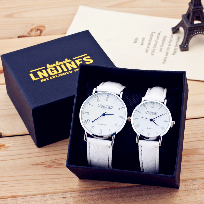 Relojes Para Pareja Couple Watch Good Quality Pure White Leather Merry Watch Wrist Watch For Couples Roman Numerals Watches