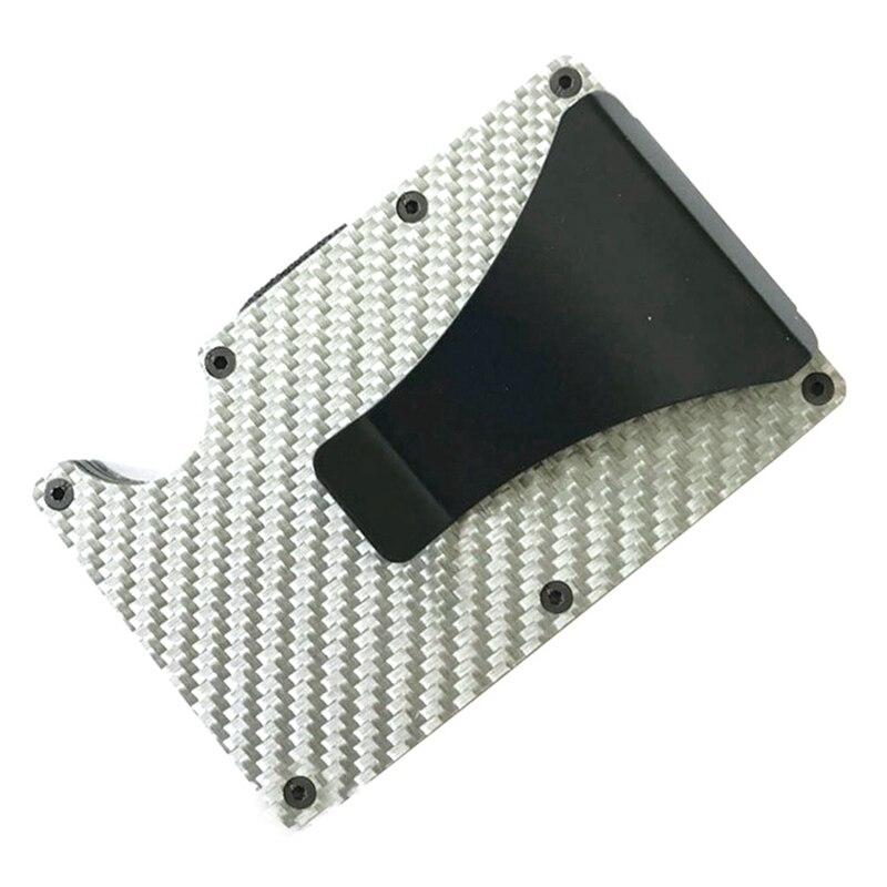Новая мода Тонкий карбоновый держатель для кредитных карт RFID несканирующий металлический кошелек мужской Прямая - Цвет: SV