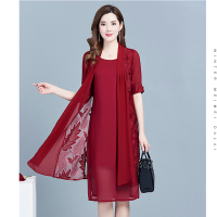 Middle Age Women Summer Dress 2019 Korean Vintage Print Two Piece Dress Plus Size Elegant Fashion Office Workwear Chiffon Dress