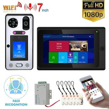 7 #8222 ekran dotykowy Wifi wideo telefon drzwi intercom System bezprzewodowy rozpoznawanie twarzy linii papilarnych IC z przewodowy 1080P tanie i dobre opinie MOUNTAINONE Głośnomówiący CMOS Kolorowy Ekran Dotykowy Aluminum alloy Ue wtyczka Us wtyczka Au plug Wtyczka uk DC 15V
