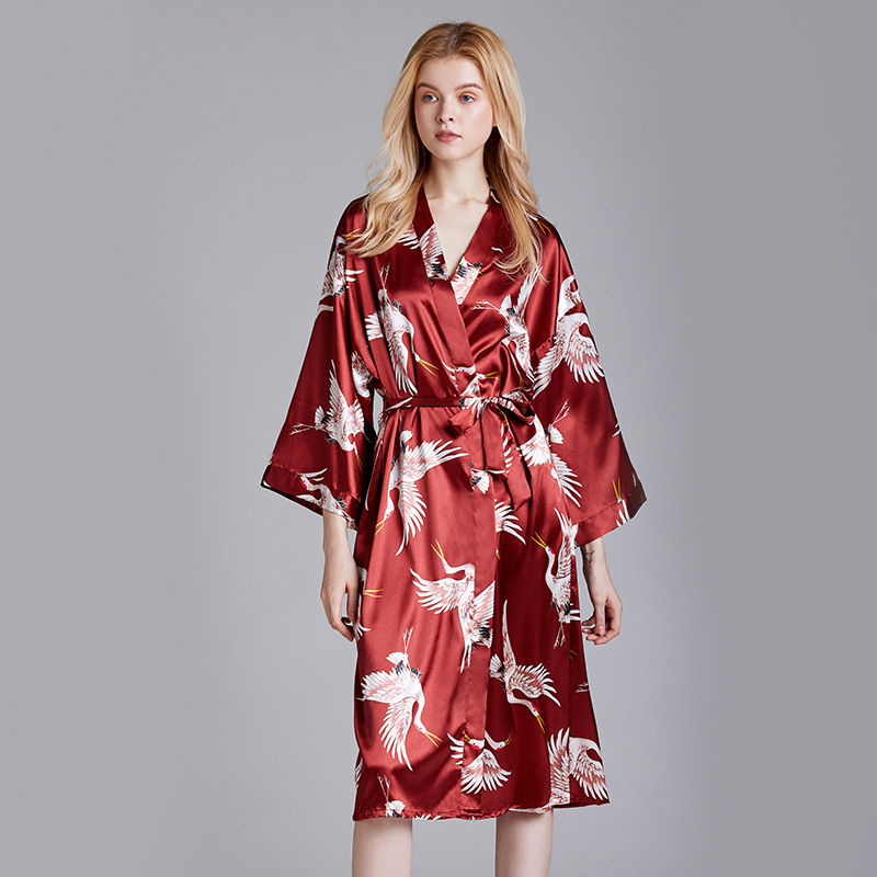 Yao Ting Silk Marriage Pajamas Female Summer Long Bridesmaid Red Bride Morning Gowns Home Nightgown 1105