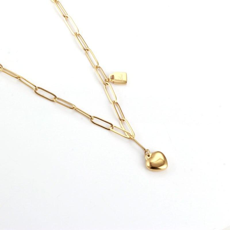 Ожерелье в форме сердца для женщин, ювелирные изделия из нержавеющей стали, аксессуары, цепочка, чокер, ожерелье с подвеской, модные ювелирн...