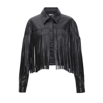 New Tassel Stitching pu leather Coats Women Short Was Thin Leather Jacket Punk Rock Cropped Jackets F2085 dropship 1