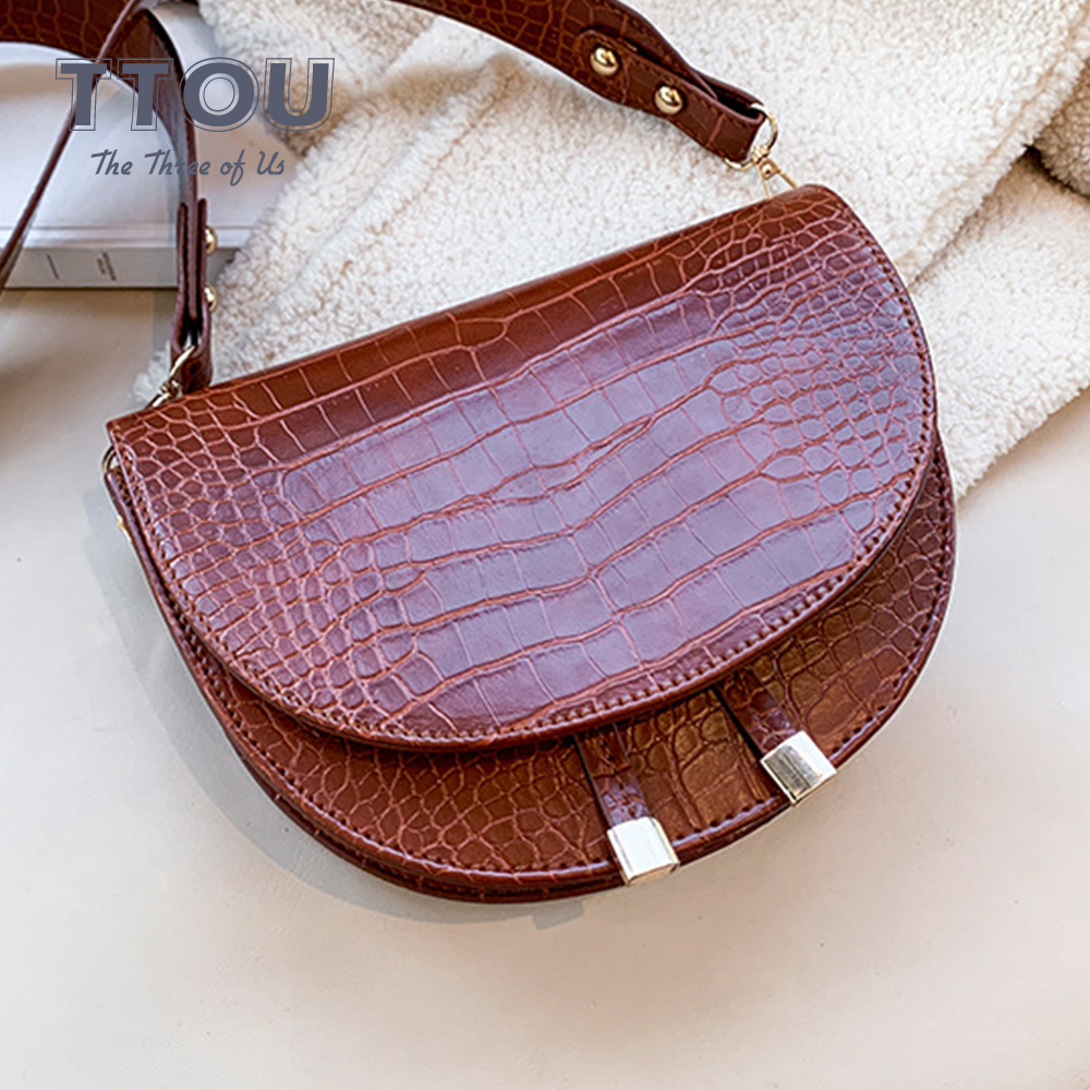 Vintage Crocodile Pattern Lady Crossbody Bag Women Pu Leather Small Saddle Bag For Female Casual Top-Handbags Designer Bolsas