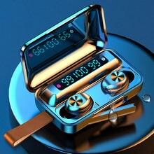 2200mahtws bluetooth 5.0 fotos de caixa carregamento sem fio fone de ouvido 9d esportes à prova dwaterproof água fone de ouvido com