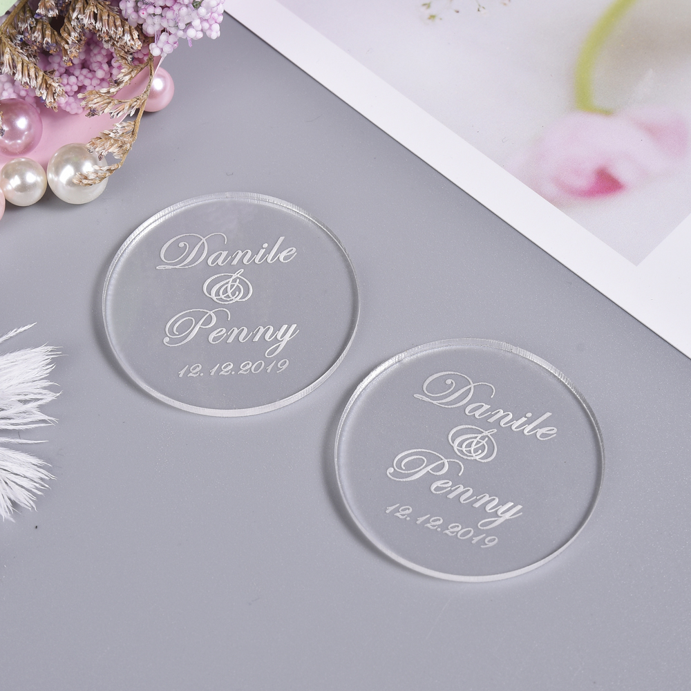 50pcs Personalized Engraved Round