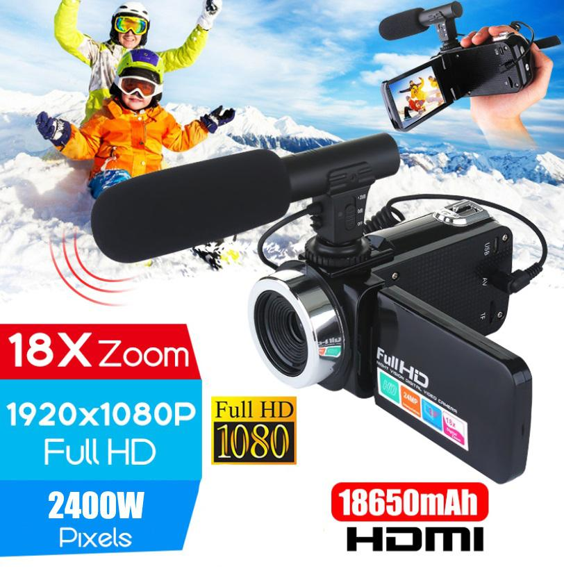 HD Camcorder Camera Microphone Professional Digital Night-Vision 4K with 18x Touch-Screen