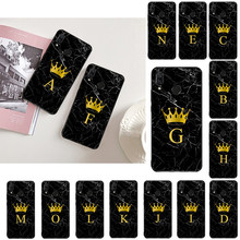 LVTLV DIY Initials name Letter Monogram Marble Gold crown Phone Case for Xiaomi Redmi4X 6A 7A 5 5Plus Note4 4X Note5 7 Note6Pro(China)