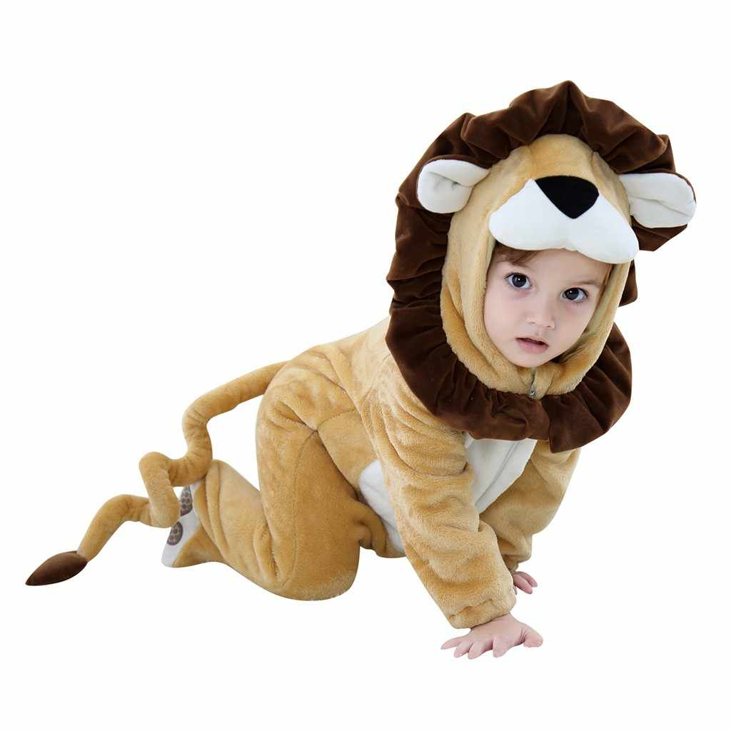 Winter Baby Girl Clothes Hooded Zipper Baby Romper Thicken Warm Kids Lion Cosplay Costume Casual New Born Baby Clothes #20