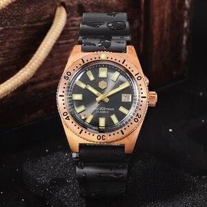 Image 3 - San Martin Tin Bronze 62Mas Diver Automatic Mechanical Men Watch NH35 Sapphire Bronze Bezel Sunray Dial Rubber Calendar Luminous