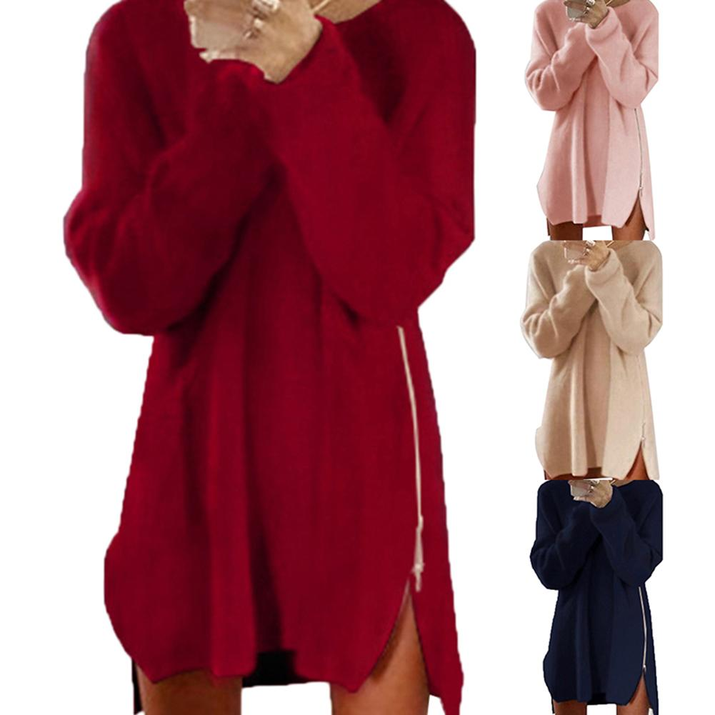 Hot Women Sexy Solid Color Long Sleeve O Neck Sideway Zip Loose Mini Sweater Dress