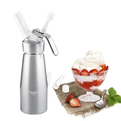 Professional Whipped Cream Dispenser 250Ml Cream Whipper with Sturdy Aluminum Body and Head - Half Pint Whipper Creates 2-3 Pint