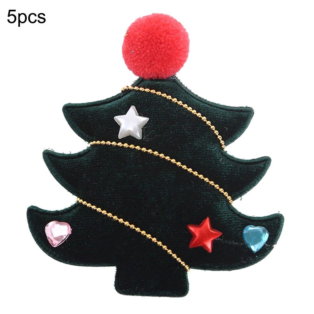 Купить с кэшбэком 5Pcs Christmas Hair Clips Lovely Christmas Barrettes Xmas Tree Hat Hairpins for Women Girls Hair Accessories