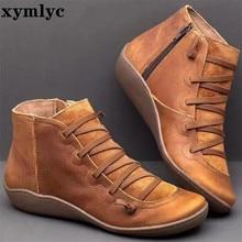 Botas de Invierno para mujer botas de nieve de cuero genuino tobillo primavera zapatos planos mujer botas Vintage cortas con piel 2020 para mujer botas con cordones