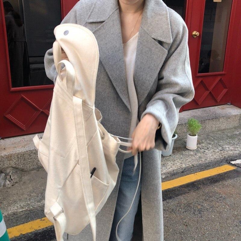 19 Winter Oversize Long Trench Coat Women Cashmere Coat Korean Lady Windbreaker Outwear Streetwear 28