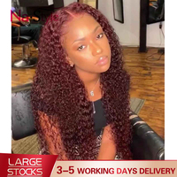 99j Burgundy Lace Front Wig Curly Red Lace Front Human Hair Wigs Colored 13x6 Lace Front Wig 180 Density Preplucked Lace Wig