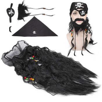 Po goleniu dla mężczyzn czarny pirat sztuczna broda zestaw wąsów peruka chustka fałszywe pleciony broda na Halloween po goleniu krem tanie i dobre opinie TMISHION Mężczyzna CN (pochodzenie) False Facial Hair