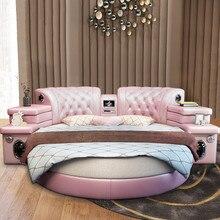 Muebles de dormitorio moderno multi-funcional grano superior genuino cama de cuero redonda