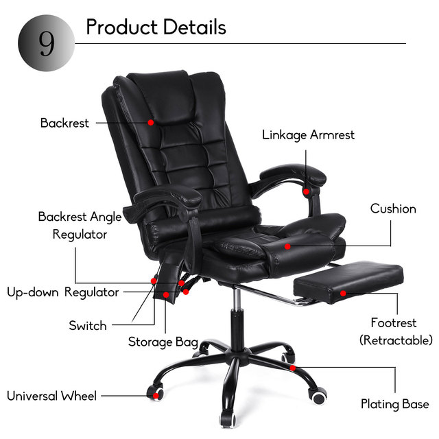 Computer Massage Chair With Footrest  5