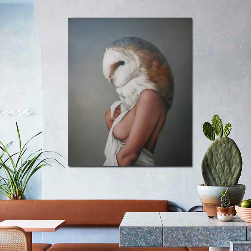 Bird Head Abstract Woman Wallpaper Oil Painting Posters Modern Wall Art Canvas Painting Unique Gift For Art Wall Home Decoration