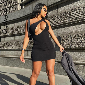 Cryptographic Sleeveless Black Sexy Cut-Out Mini Dress Bodycon Club Party Fall 2020 Women's Dresses Skinny Elegant Vestidos black cut out yoga bodycon leggings