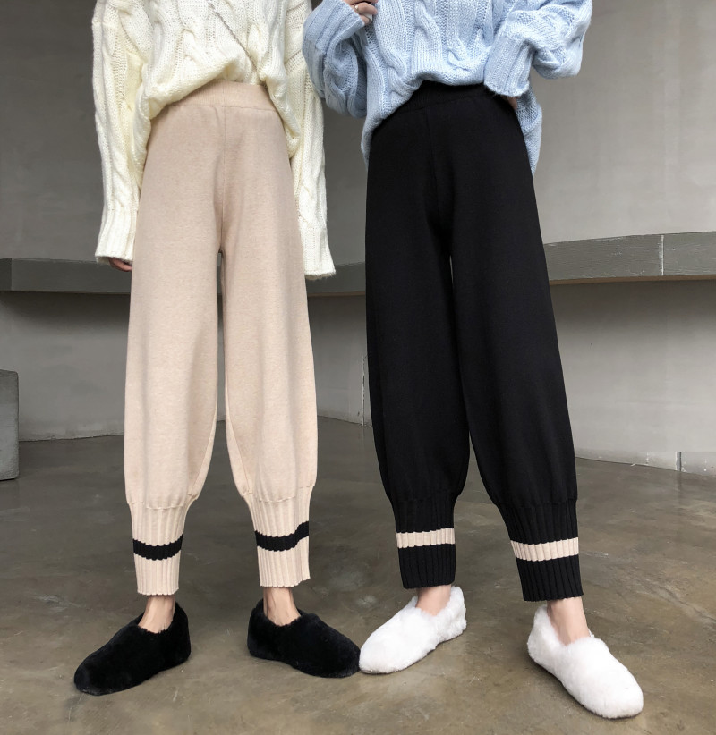 Harem Pants Women Knitted Pants Casual Autumn Winter Korean Pants Warm Knitting Chic Trousers Elastic Waist Black Beam Pants