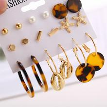 2019 New Design Leopard Print Earring Set For Women Bohemian 9pcs/set Acrylic Statement Geometric Earrings Female Jewelry