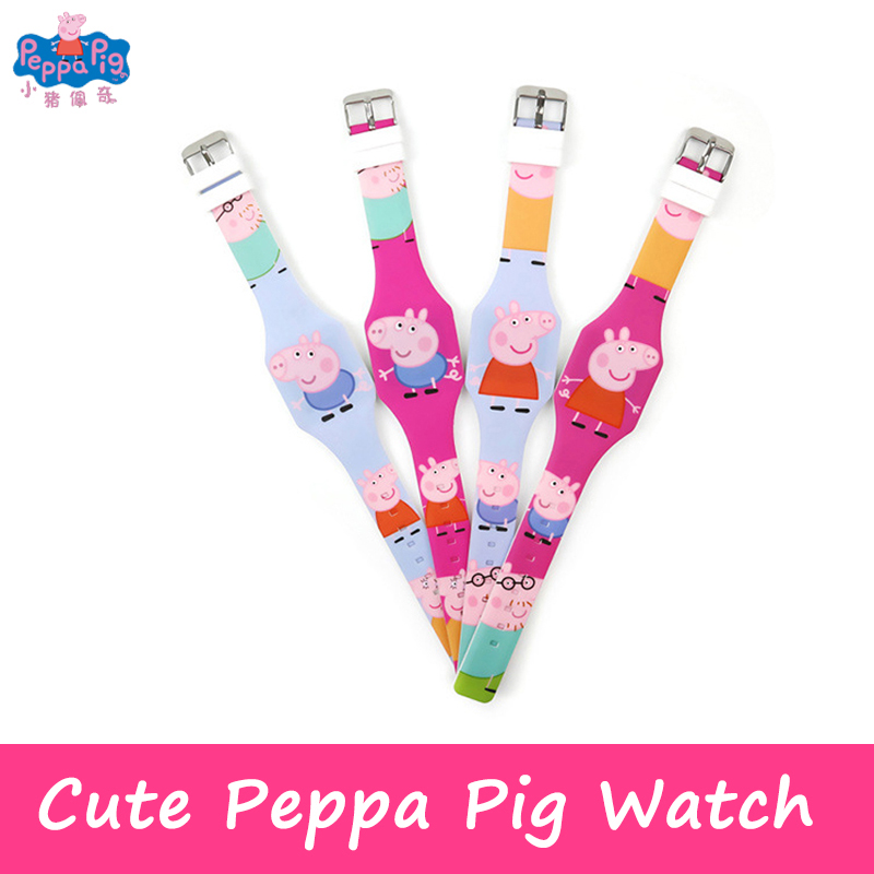 Peppa Pig Cartoon Figure Watch Toy Child Electronic LED Luminous Watch PVC Material Strap Hand-made Children Gift Toys
