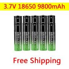 18650 батарея высокого качества 9800mAh 3,7 V 18650 литий-ионная аккумуляторная батарея для фонарика фонарь + бесплатная доставка