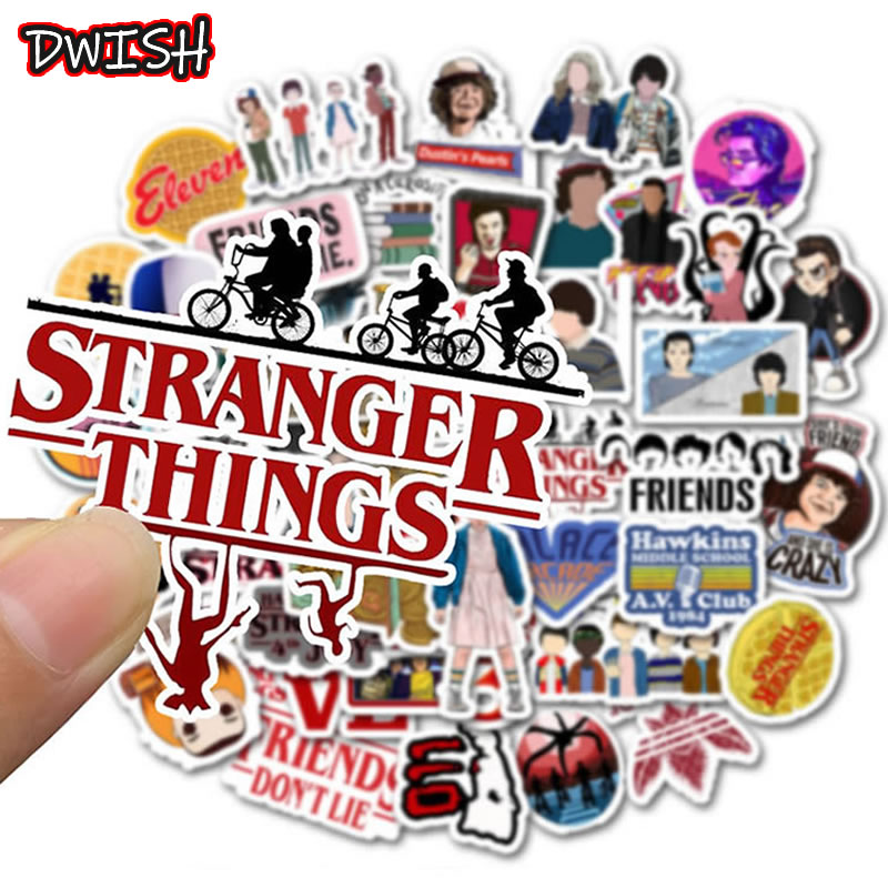 50pcs/Pack Waterproof PVC Stranger Things Stickers Skateboard Guitar Phone Suitcase DIY Laptop Motorcycle Snowboard Toy Sticker