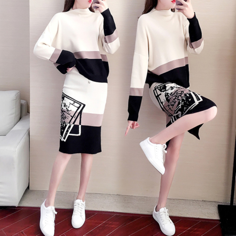 2019 Fashion Designer Fashion Week New Women's Wear  Knitting Suit  Long Sleeves Pullover+Fashion Bag Hip Skirt Two-Piece Suite