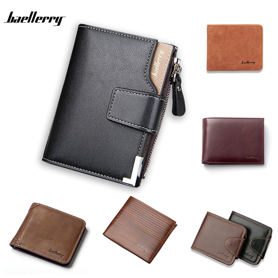 Baellerry Fashion Men Wallets Leather Card Holder Minimalist Bifold Designer Small Purses & Wallets Money Purse For Coins